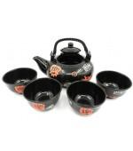 Set ceai negru cu motive chinezesti rosii (cod B56-1)