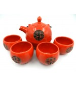 Red tea set with black chinese patterns (code B57-1)