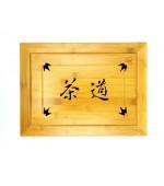 Masuta ceai sculptata din bambus (cod B59)