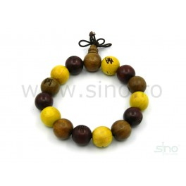 Multicolored wooden bracelet with chinese symbols (code B78)