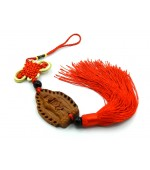 Wooden tassel with mystic knot and Buddha (code F111)