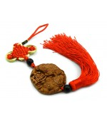 Wooden tassel with mystic knot and Three Legged Frog (code F111-3)