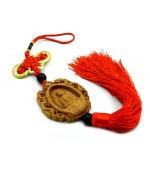 Wooden tassel with mystic knot and Buddha with dragons (code F111-4)