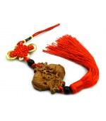 Wooden tassel with mystic knot and feng shui Fishes (code F111-5)