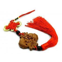 Canaf din lemn cu nod mistic si Pesti feng shui (cod F111-5)