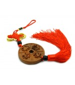 Wooden tassel with mystic knot and the 4 celestial animals (code F111-1)