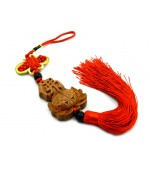Wooden tassel with mystic knot and Lotus flower with Chinese symbol (code F111-6)