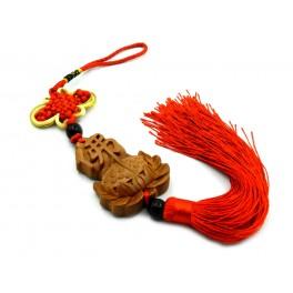 Canaf din lemn cu nod mistic si floare de lotus cu simbol chinezesc (cod F111-6)