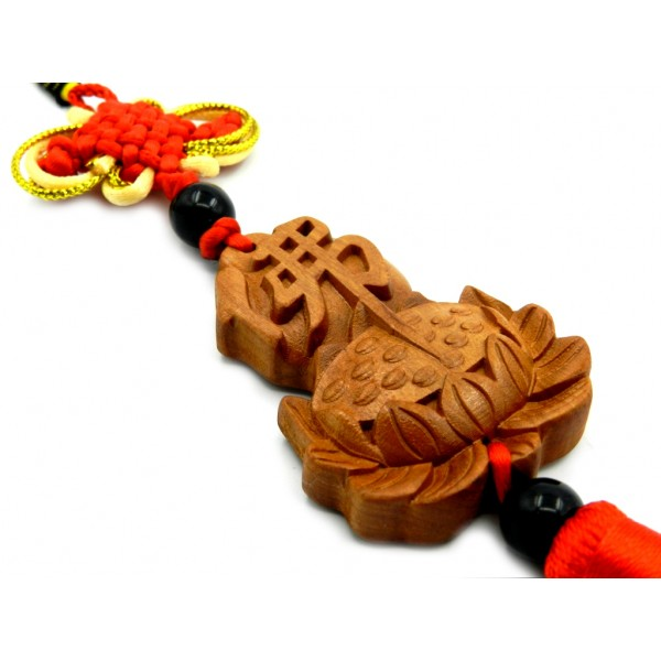 Wooden Tassel With Mystic Knot And Lotus Flower With Chinese Symbol