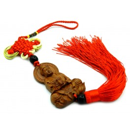 Wooden tassel wih mystic knot and Guan Yin with water jug (code F111-8)