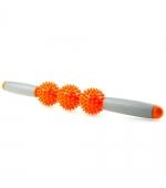 Roller masaj stick cu 3 bile zimtate portocalii(cod R122-2)