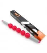 Roller masaj stick cu 5 bile zimtate rosii (cod R121-5)