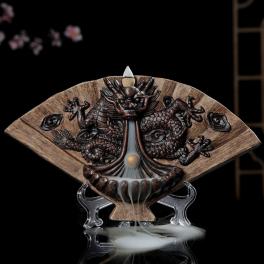 Decoratiune suport conuri parfumate backflow, forma de evantai cu dragon si bila in gheare (Cod F62)
