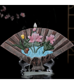 Decoratiune suport conuri parfumate backflow, forma de evantai cu lotus (Cod F61)