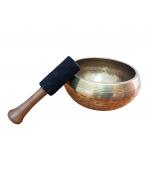 Bat pentru bol cantator din lemn de piersic cu capat infasurat in piele de oaie, de culoare neagra (cod F31-2)
