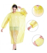 Pelerina de ploaie si protectie,  impermeabila, material PE, marime universala, gluga, galben (cod U06)