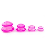 Set ventuze silicon alimentar,  pentru masaj, roz (cod V35)