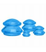 Set ventuze silicon alimentar,  pentru masaj, albastru (cod V34)